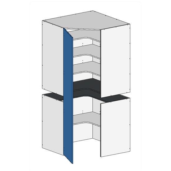 Flatpack 2 Part Corner Pantry w Door no bottom