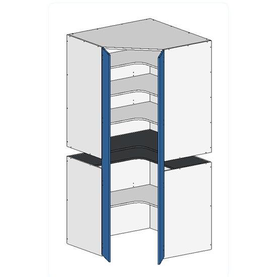 Flatpack 2 Part Corner Pantry w Doors no bottom