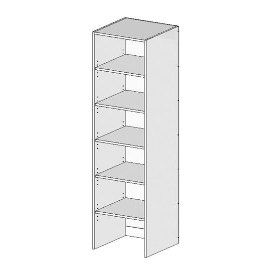 Flatpack Robe Unit w Shelves Top No Bottom