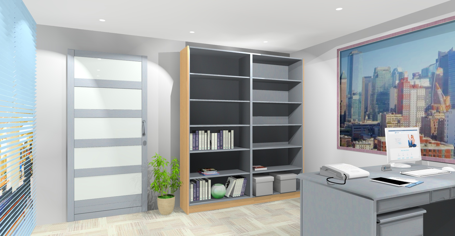flat pack Office Storage cabinets DIY render