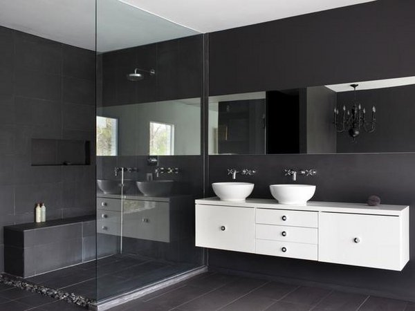 Black White Bathroom Design Floating Bathroom Vanity
